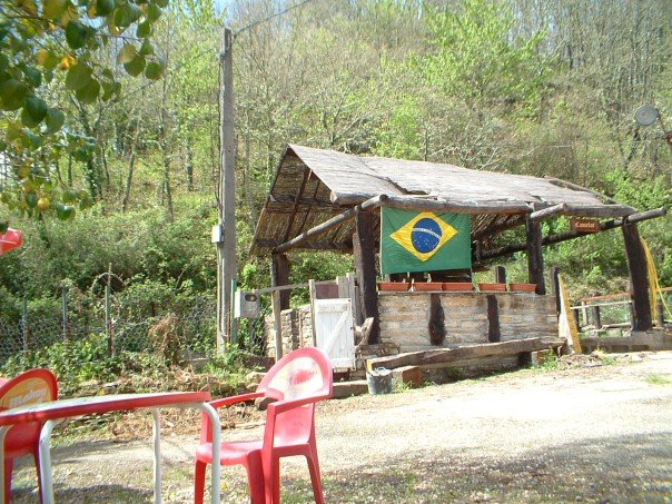 The Brazilian flag flies at Vega del Valcarce