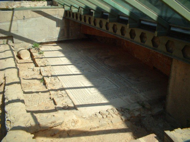 Roman pavement under glass in Astorga