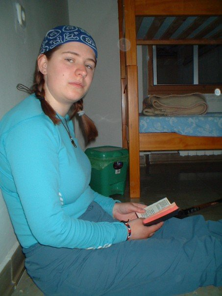 Anne reads Morning Prayer (the 1922 BCP was the smallest I could find) in the albergue at Astorga