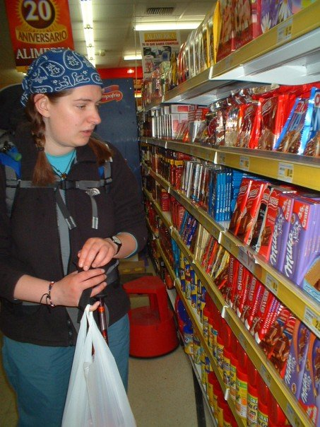 Stocking up on chocolate to take us over the mountains