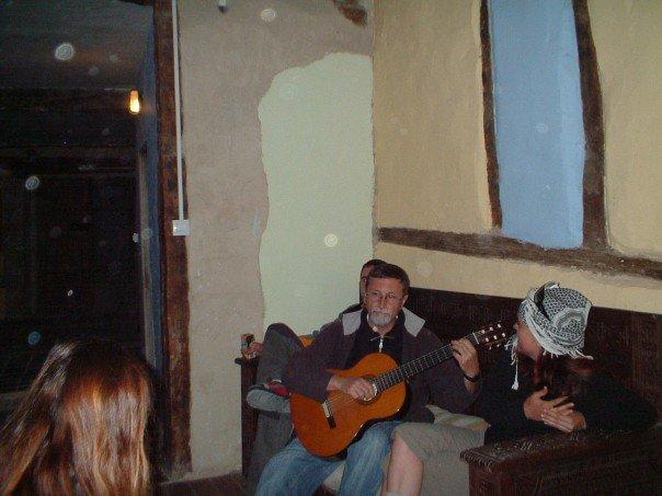 Serenaded by fellow pilgrims at Casa Nostra