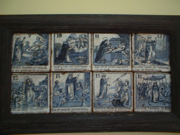 Part of the life of St Vincent, as told in tiles at the parish rooms