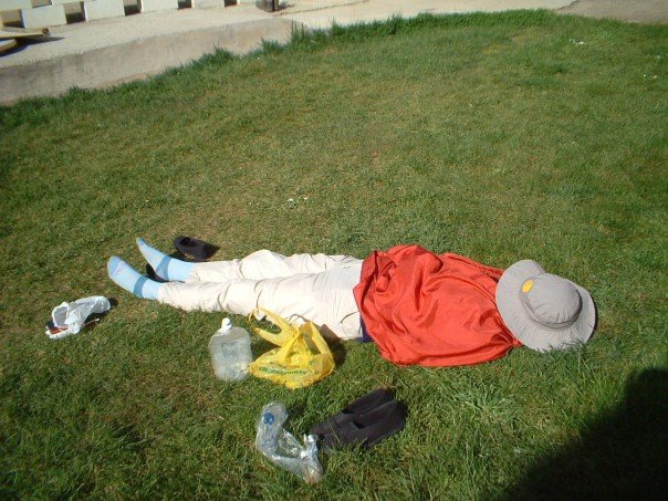 Sunbathing fully dressed