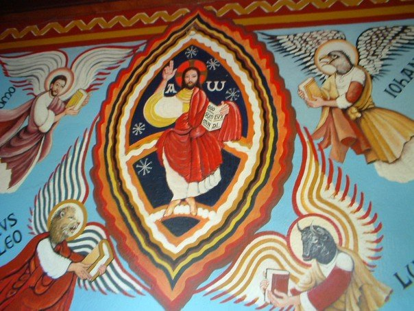 Christ and the Evangelists mural at Compostilla