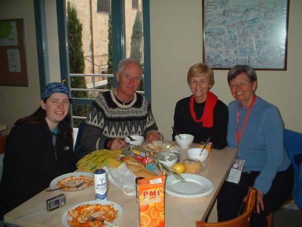 Anne, Terry, Marg and Ursula at the Logroño albergue