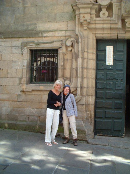 Anne and Gillian outside the pilgrim office