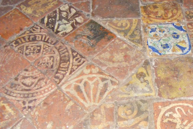 Floor tiles at the disused church of St Mary the Virgin, Preston Candover
