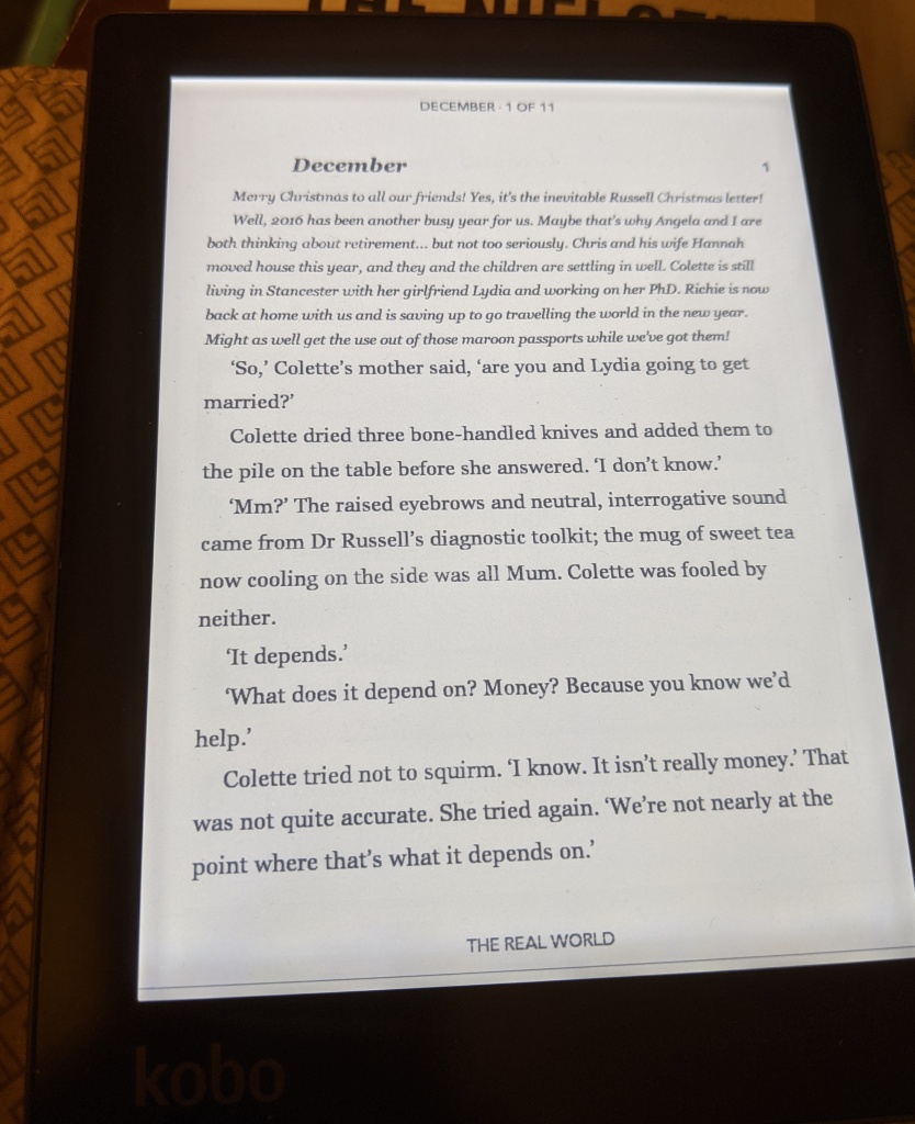 Kobo ebook reader showing the first page of 'The Real World'
