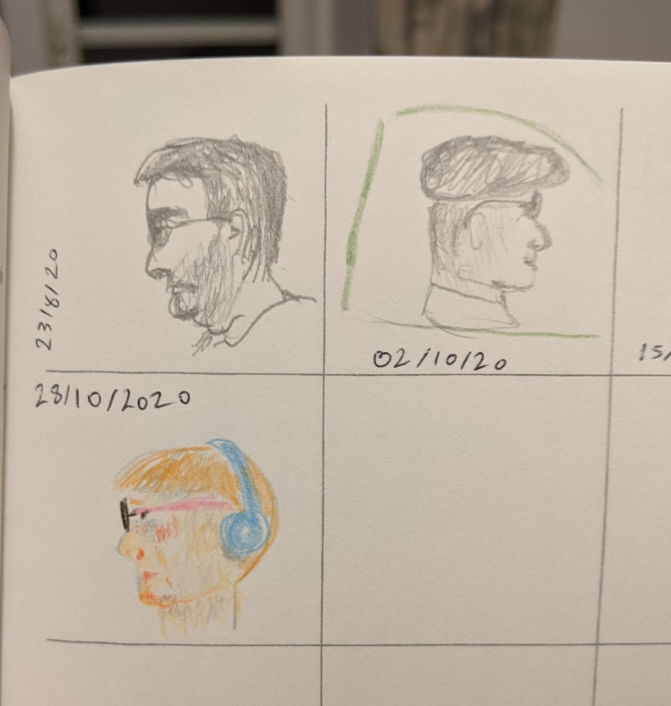 page marked with a grid, with three drawings in pencil and coloured pencil of people's faces in profile
