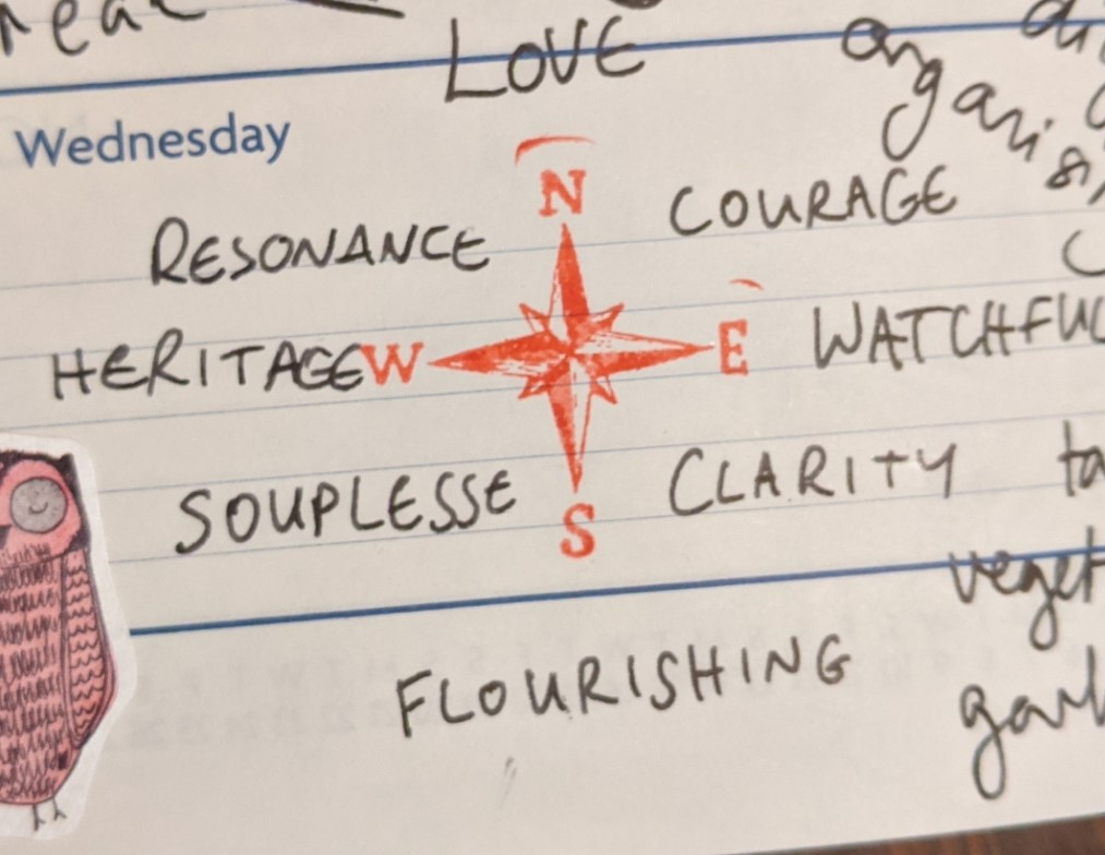 a compass rose stamped in red ink with the words LOVE COURAGE WATCHFULNESS CLARITY SOUPLESSE HERITAGE RESONANCE handwritten around it, with LOVE at North and then proceeding in a clockwise direction, in black ink