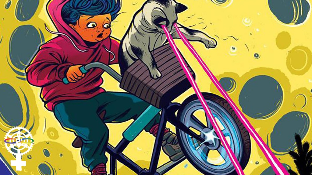 A kid on a BMX bike flies across the moon with a cat in the basket shooting lasers out of their eyes